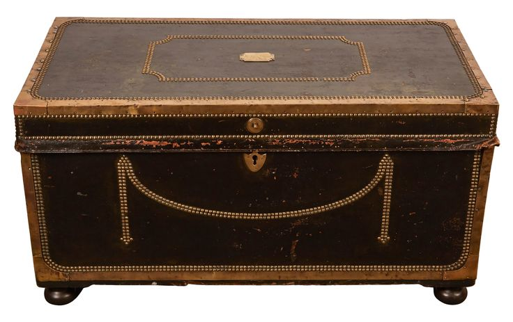 Buy 19th Century English Leather Trunk with Nail Head  by Susanne Hollis, Inc. - Limited Edition designer Accessories from Dering Hall's collection of Georgian Victorian Traditional Decorative Objects.