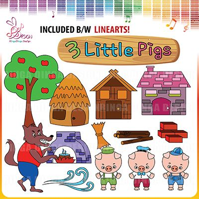 Three Little Pigs Ciipart by Ringa Dinga Design