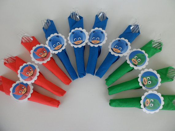 Pj Masks party utensils. birthday party school by MyPartyTreasures