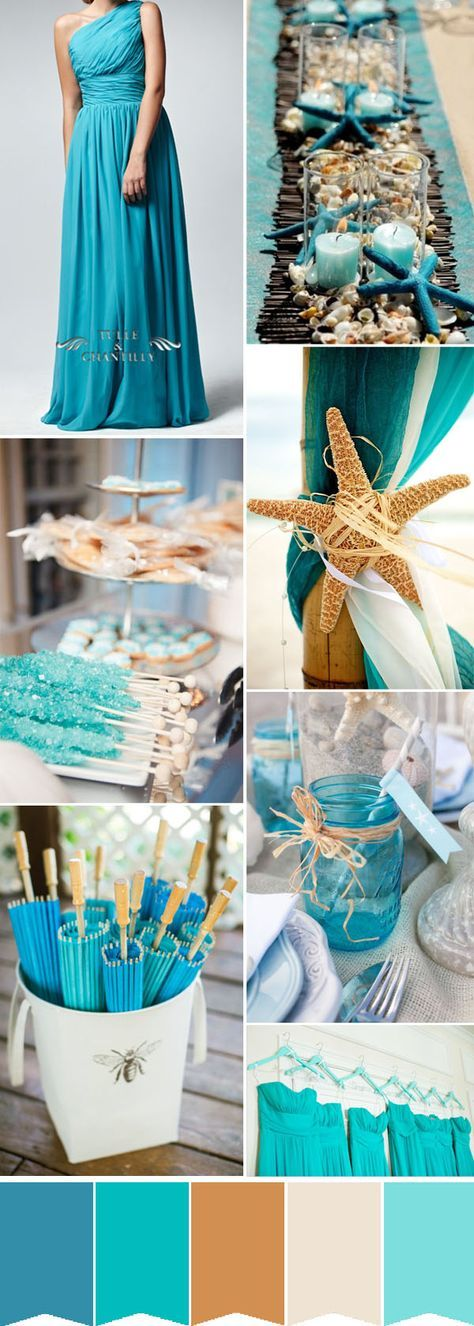 turquoise beach wedding ideas amd long blue one-shoulder bridesmaid dresses