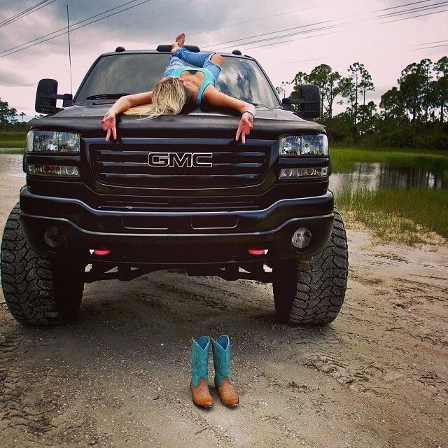 A lifted truck and a country girl...not a Chevy but..