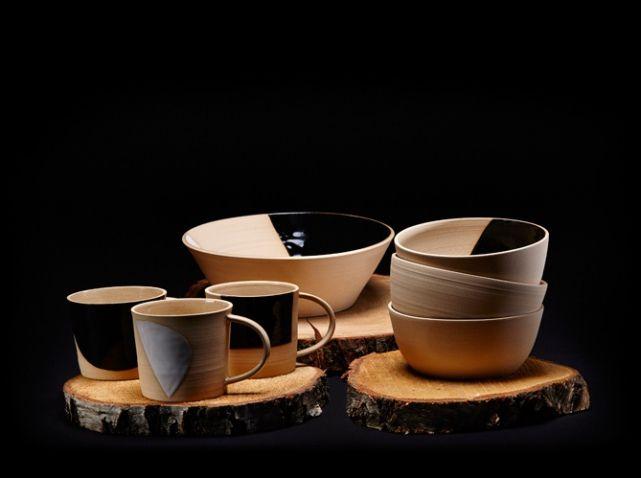 Deco table automne rondin bois