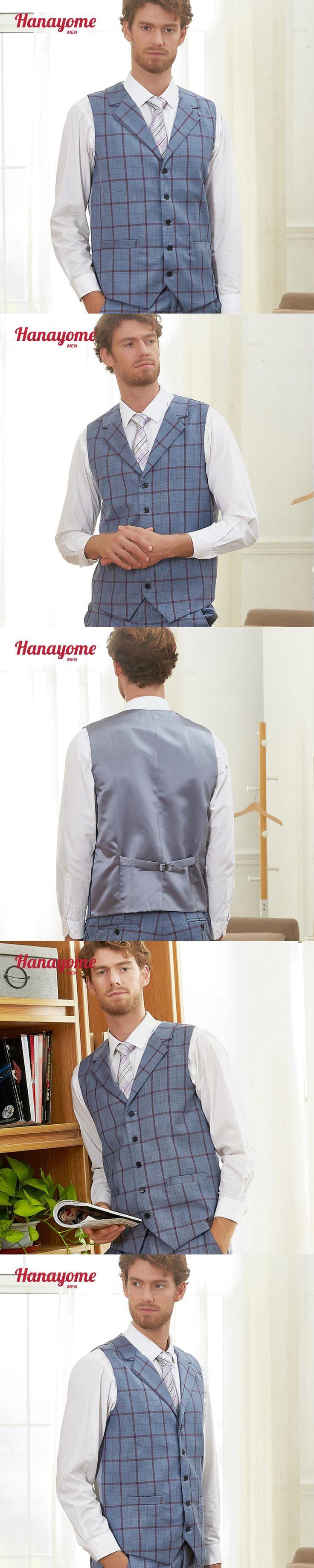 Men's Vest Fashinal Blue Checked Suit Waistcoat Single Breasted Adjustable Suit Gilet 2018 Sleeveless Blazer Waistcoats SI125