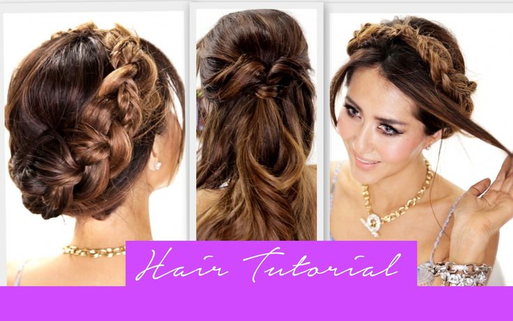 Cute hair tutorial; learn how to do 3 heatless, easy back-to-school hairstyles for long hair and medium hair; messy side braid, simple half-up half-do...