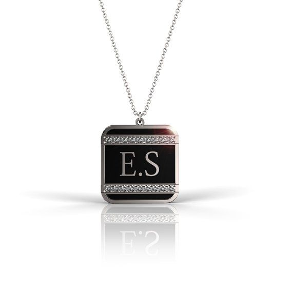 Unisex Square Necklace with Initials for Him or her in Silver, Black Enamel and Swarovski crystal,Fathers Day Gift, Personalized  Jewelry. on Etsy, 298.40₪