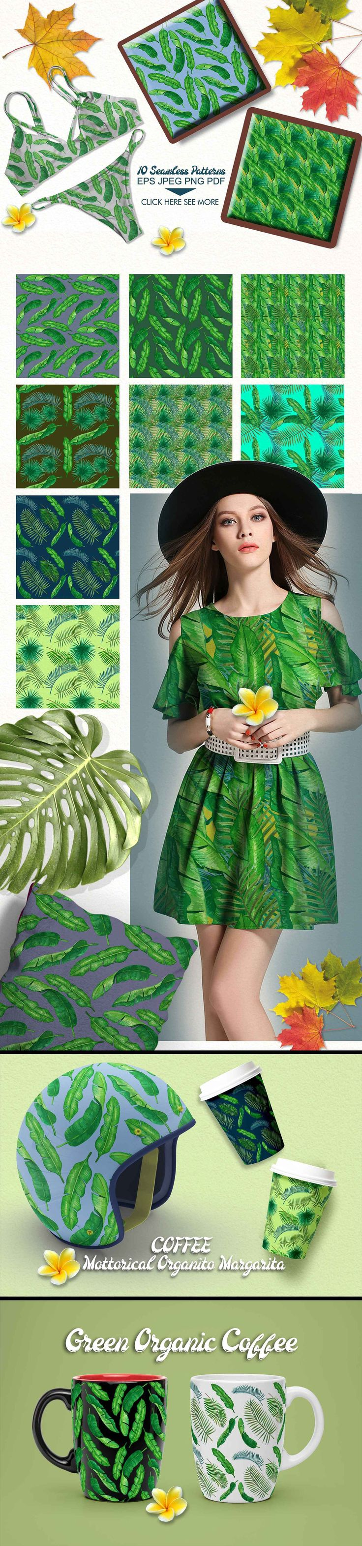 Palm and Banana Leaves Patterns by iGRAPHOBIA on @creativemarket