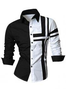 Long Sleeve Cross Striped Color Block Shirt