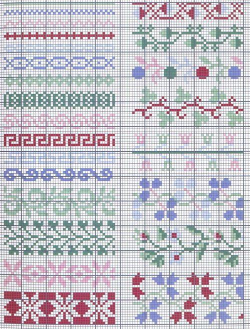 Página de patrones de frontera / tabla para punto de cruz, ganchillo, tejido, anudado, abalorios, tejido, arte pixel, macrame micro, y otros proyectos de artesanía.