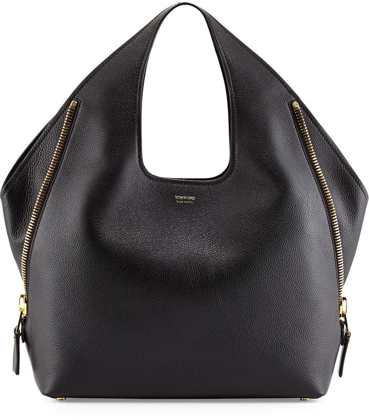 Tom Ford Jennifer Side-Zip Leather Hobo Bag, Black on shopstyle.com
