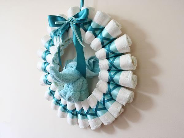 coroa de fralda cha de bebe ♥vanuska♥                                                                                                                                                                                 Mais