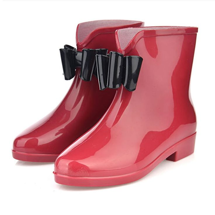 New Women Fashionable Flower Bowknot Decor Flat Heel Antiskid Waterproof Short Rain Boots Red & Black