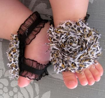 Leopard Print Ruffle Strap Barefoot Flower Sandals.....SO cute