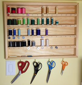 After weeks of staring longingly at this  homemade thread organizer by The Creative Homemaker, I resolved yesterday to make my own. It's mad...