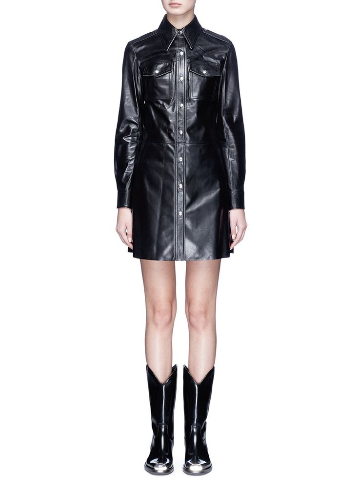 Lambskin leather shirt dress lambskin leather and leather for Leather jacket and shirt