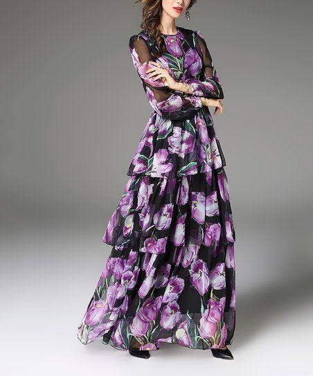 Vicky and Lucas Purple Floral Chiffon Ruffle Maxi Dress | zulily