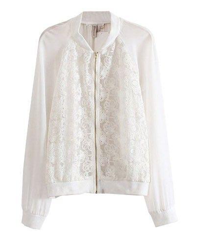 White Lace Splicing Chiffon Jacket - Clothing