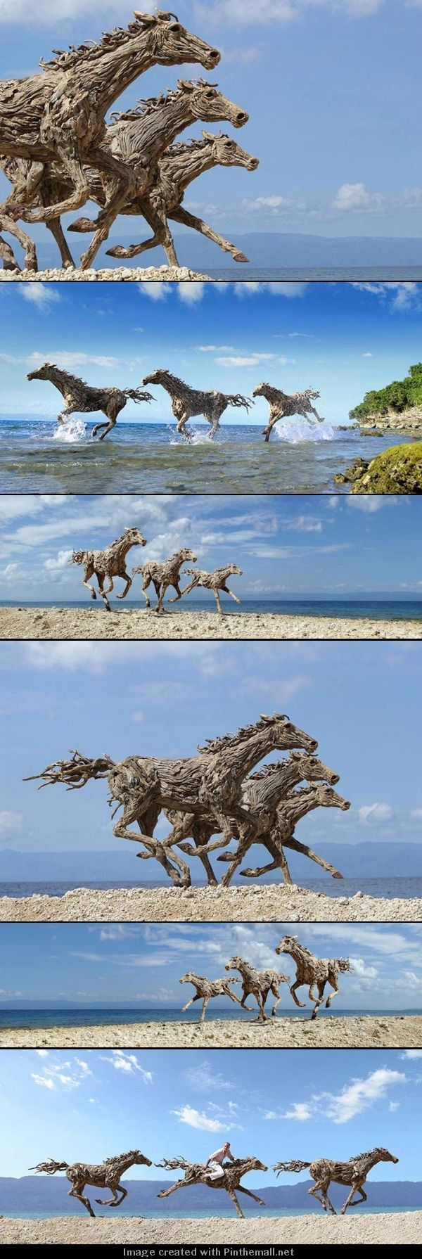 British-born James Doran-Webb created these incredible life-size horses out of salvaged driftwood. - created via http://pinthemall.net