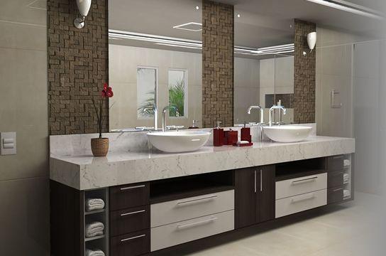 armário para banheiro plano com duas cubas