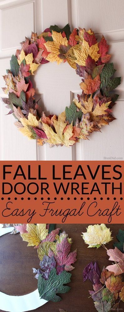 Cheap Easy DIY Fall Leaves Wreath (Made From Real Leaves for $0!)