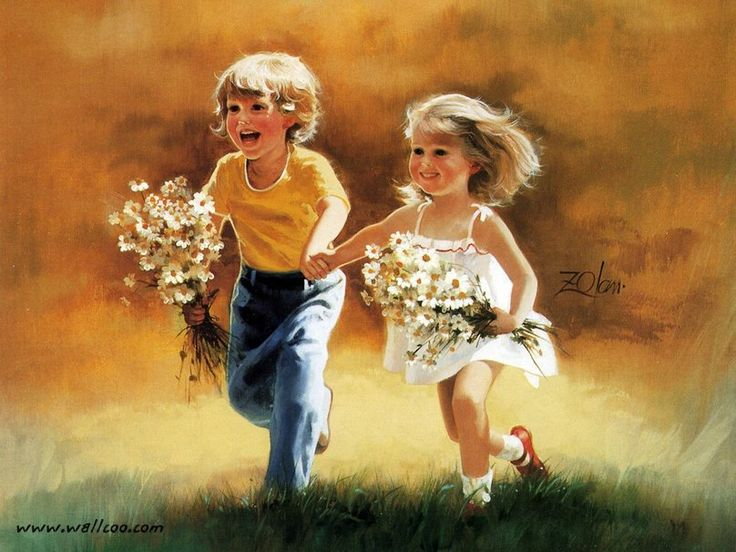enfants de donald zolan painting Wallpaper