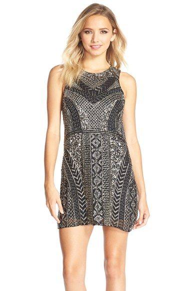 Parker Black 'Allegra' Embellished Silk Shift Dress available at #Nordstrom