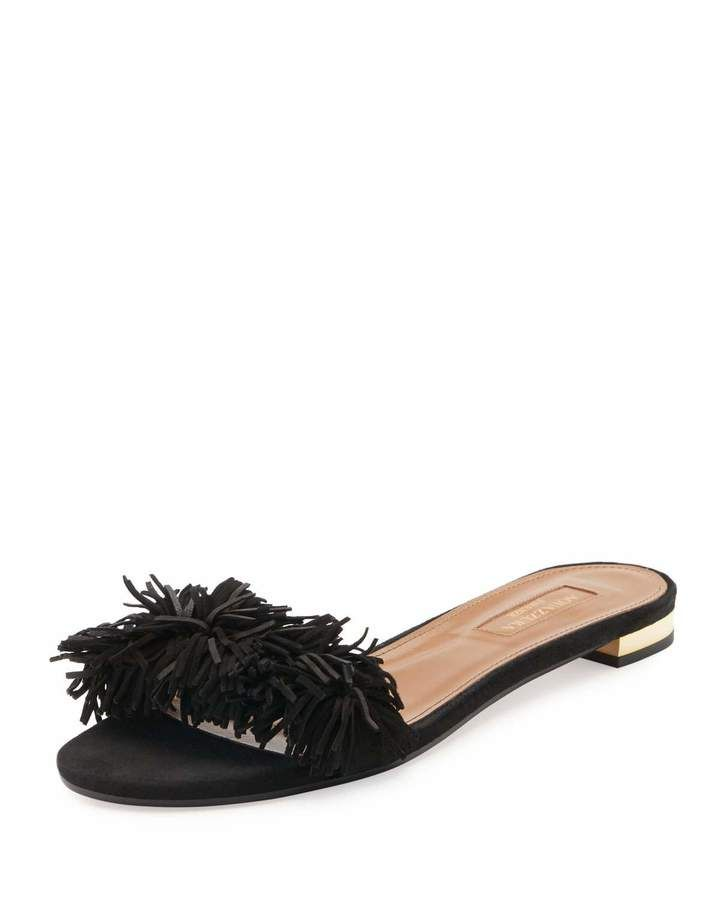 Aquazzura Wild Thing Suede Flat Slide Sandal, Black from Neiman Marcus