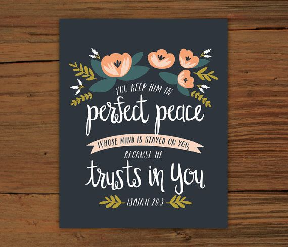 Isaiah 26:3 Print by FrenchPressMornings on Etsy