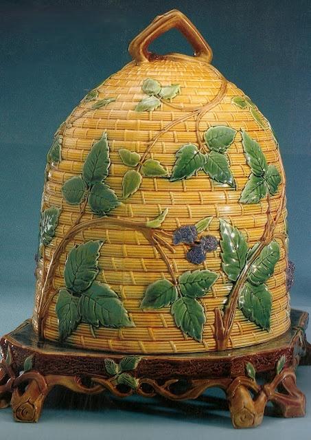 George Jones majolica beehive cheese dome ~ 19th Century ~ English