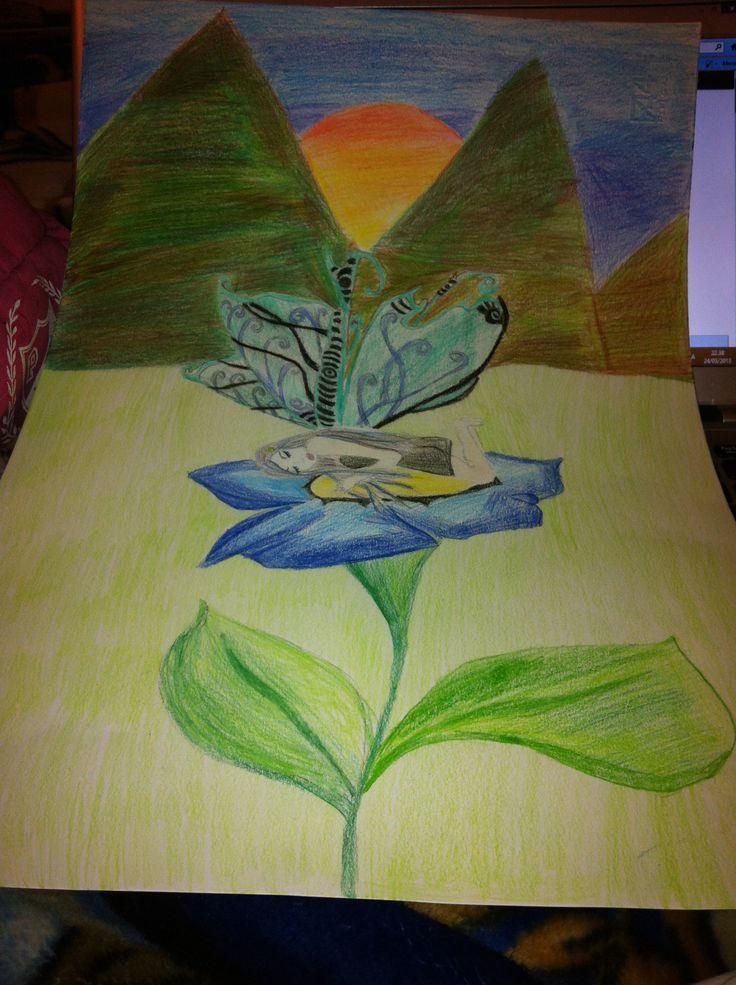 Fairy sleeping on a flower drawing I did