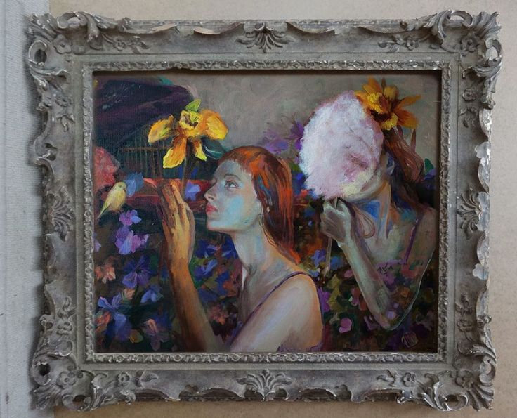 "A new alluring pieces have arrived in the gallery today. Use promo code ""CHARMING"" when contacting me for additional discount on every piece in the gallery you are interested in. Promo is active until Feb14  Have a lovely Monday, you all!  #fineart #artforsake #contemporary #painting #acrylic #gem #treasurefinds #newarrivals #promo #instagood #instaart #finepainting #floral #bird #woman #beauty #duffondils #yellowflower #love #mystery"