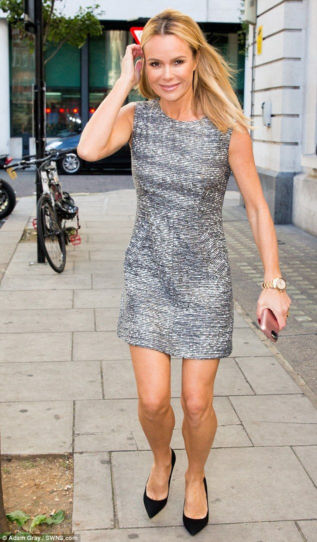Making an entrance: Amanda Holden was seen at BBC Radio Two's London studios on Friday...