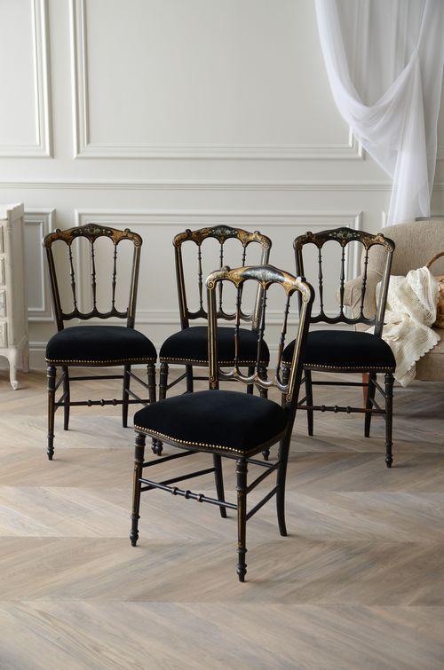 アンティーク 家具 椅子 チェア ナポレオン3世 ブラック インテリア 部屋 パープル フレンチ フランスantique french chair interior furniture room Napoleon III coordinate