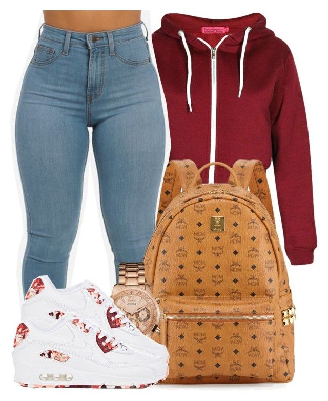 """""""Got me Flexin on em'."""" by bria-myell on Polyvore featuring polyvore fashion style Boohoo NIKE GUESS MCM clothing"""