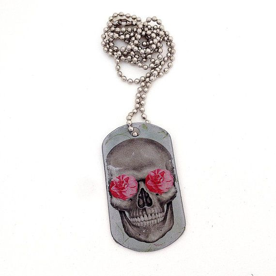 Dog Tag Necklace - Skull Jewelry - Pastel Goth - Portrait Miniature - Skulls and Roses