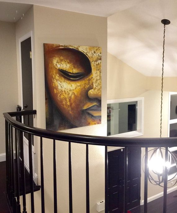 Large oil painting of a golden Buddha face, hand painted on canvas.contemporary and modern feel. Lots of paint texture, brush strokes are visible Very impressive painting Vertical painting, the size is 36 inches wide by 48 inches tall + about 1 inch extra for stretching the canvas