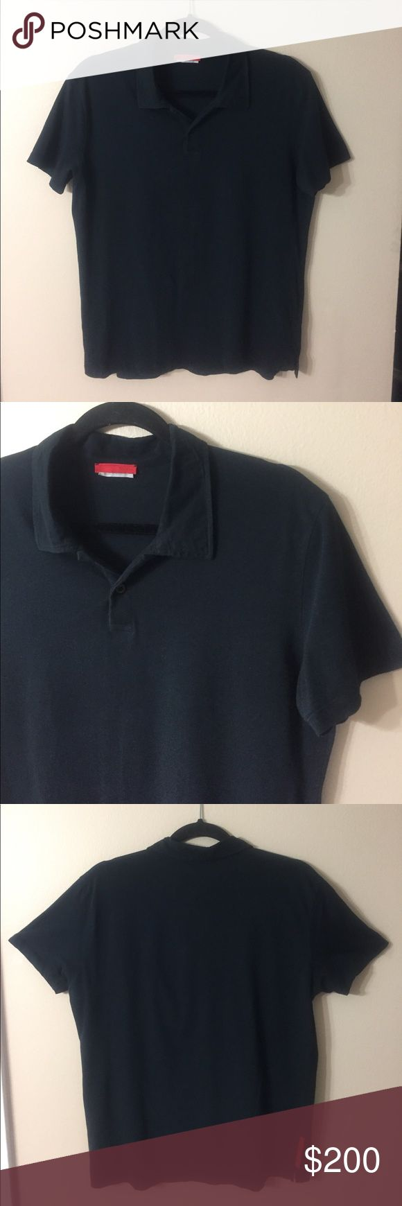 """PRADA Women's Polo Top EUC! Black polo collar shirt with 2 button placket. 100% Cotton. Laid flat chest measures 20.5"""", length from shoulder to hem is 24.5"""". Prada Tops"""