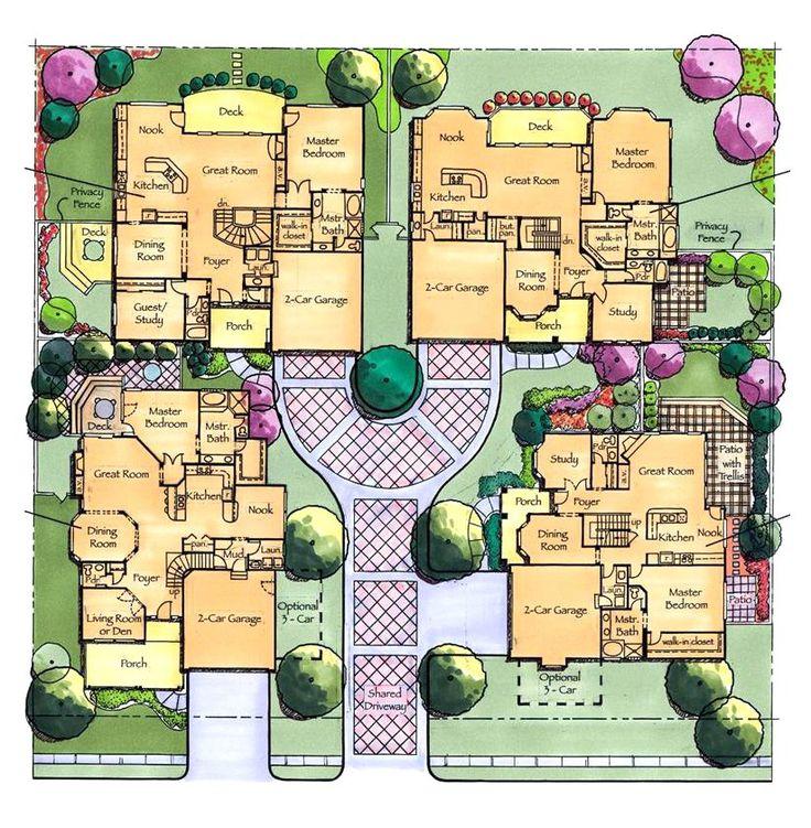 10 best small lot and cluster homes images on pinterest for Cluster house floor plan