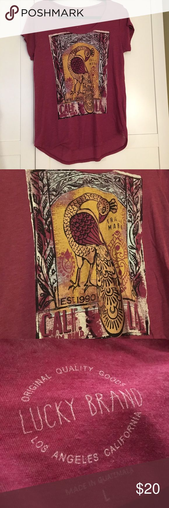 Lucky Brand Heritage Peacock Shirt Light and soft, cranberry color Lucky Brand vintage wash Heritage Peacock T-Shirt Lucky Brand Tops Tees - Short Sleeve