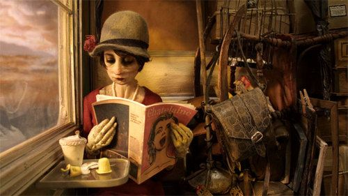 """animated stop-motion puppet film,   """"Madame Tutli-Putli"""",  from the National Film Board of Canada.  The trailer is intriguing  and the making-of videos about the animator's who made it are fascinating.    The film is 17 minutes , which took them 4 years to finish."""