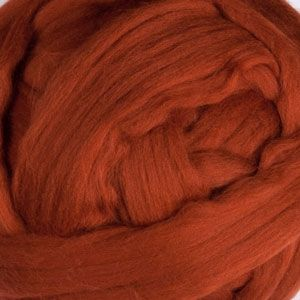 Merino Wool Roving Spinning Fiber - Solid - Rust 23 micron