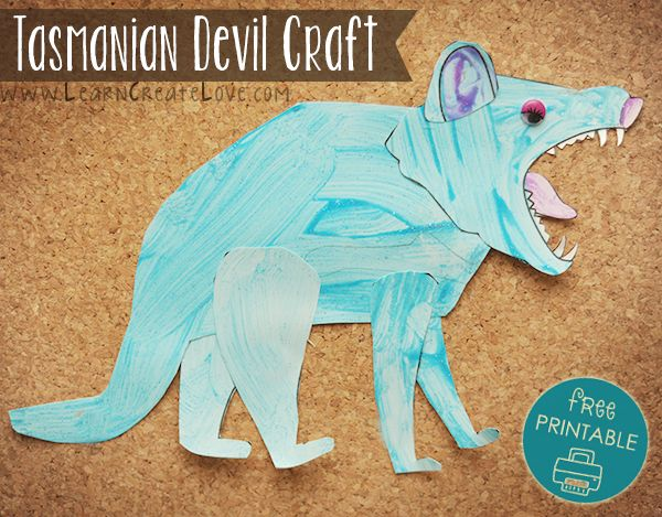 Tasmanian Devil Printable Craft