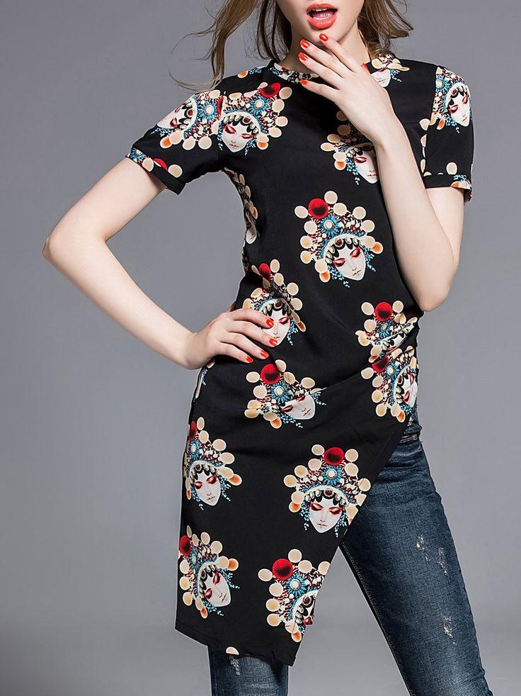 Shop Tunics - Black Asymmetric Graphic Short Sleeve Tunic online. Discover unique designers fashion at StyleWe.com.