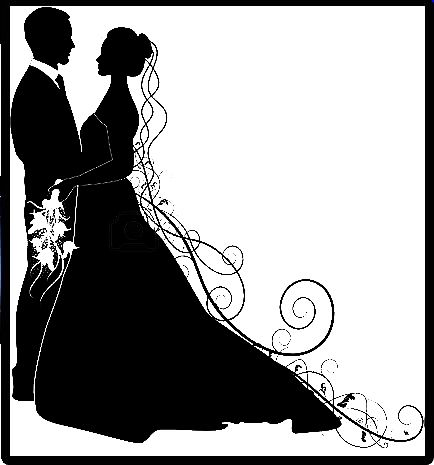 silhouette bride and groom