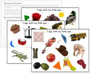 "Free Printable ""I Spy"" Pages - lots of fun for sound games!"