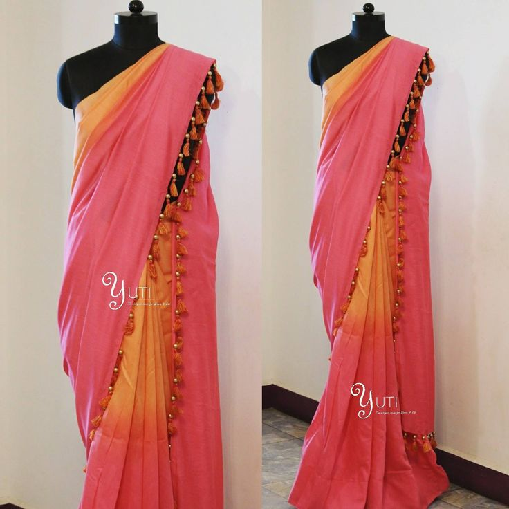 A Peach to Pink shaded saree with tassels and beads!For Orders and Queries reach us at 044-42179088 / whatsapp: 9789903599 Address: 21 Valmiki street Thiruvanmyur pinksaree shadedsaree tassels 06 March 2017