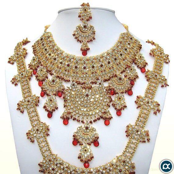 INDIAN JEWELRY|Complete Traditional Indian Grand Bridal Wedding Designer Kundan Zircon Necklace Jewelry Set|Bollywood Jewelry