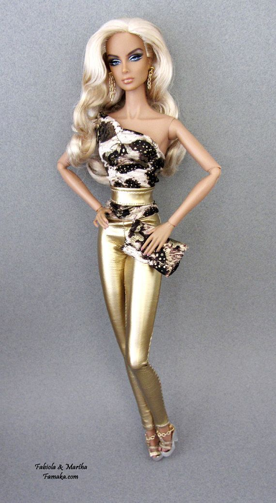 Leopardo de Ouro Vinyl Moda com saltos claros para Moda Realeza, Silkstone Barbie