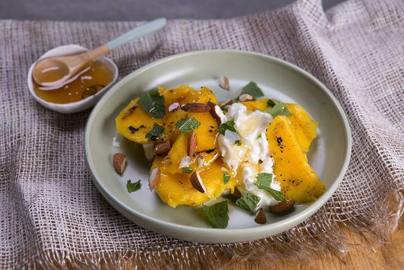 Grilled Mango with Greek Yogurt, Honey and Almonds - Maggie Beer