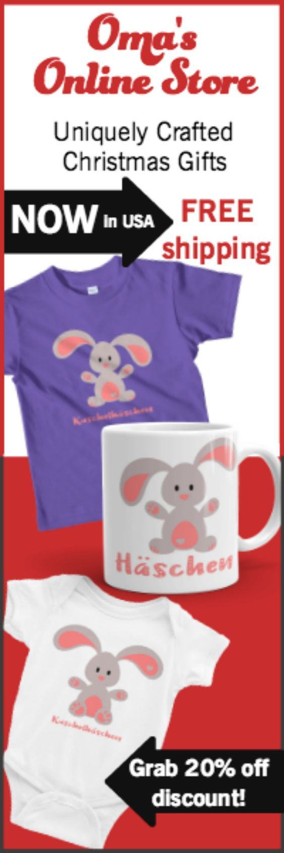 A sweet cuddly bunny adorns the mug, the baby onesie, and the kid's t-shirt. Perfect gifts for anytime, but especially Easter! KUSCHELHÄSCHEN means cuddly bunny in German and is a perfect gift for an Oma and Opa to give to their little ones. The mug is perfect for your sweetie as well ❤️