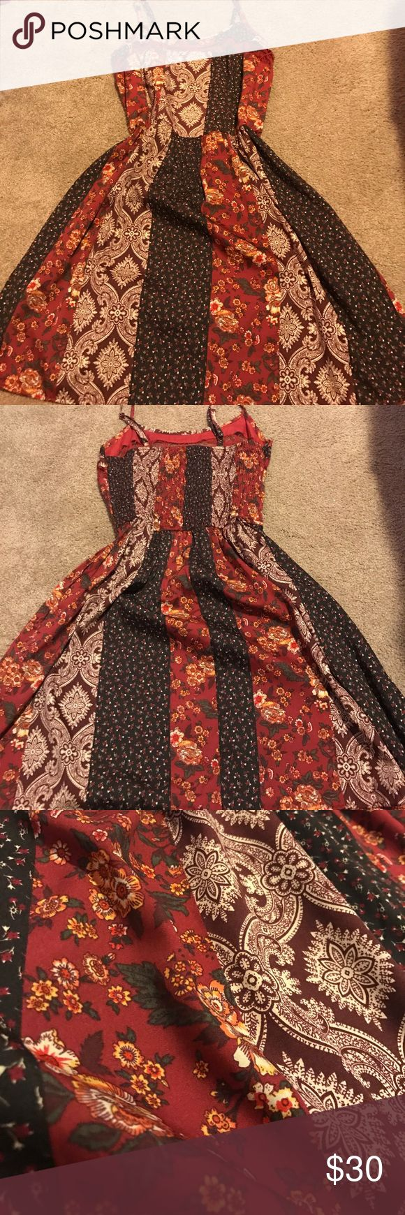 Maroon and black patterned sundress American Rag short sundress with multiple patterns. Lace top strip. American Rag Dresses Mini